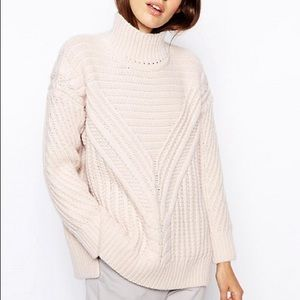 Sweaters - ASOS Cable Jumper With Turtle Neck Light Pink